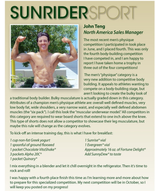 Sunrider Sport Success Story with John Teng