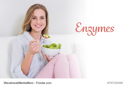 Woman Eating Food With Enzymes